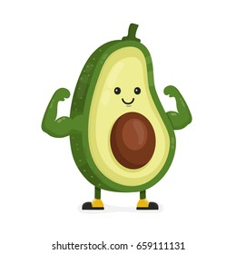 Cute happy strong smiling avocado show muscle biceps. Vector modern flat style cartoon character illustration. Isolated on white background.  Eating healthy food,fitness,sport,vegetable concept design