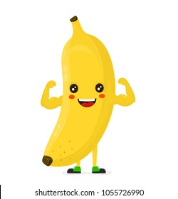 Cute happy strong smiling banana show muscle biceps. Vector modern flat style cartoon character illustration. Isolated on white background.  Eating healthy food, fitness, sport,banana concept design