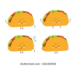 Cute happy taco set. Isolated on white background. Vector cartoon character illustration design, simple flat style. Taco character bundle, collection. Mexican food kids menu, card concept