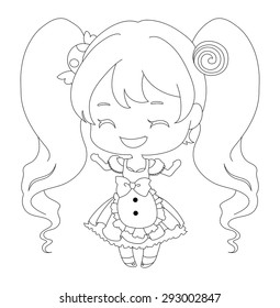 cute happy twin tail girl with sweet smile in cute dress with candy head accessory cartoon mascot character for confectionery and bakery shop
