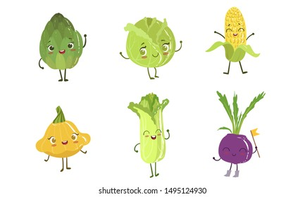 Cute Happy Vegetable Characters Set, Artichoke, Cabbage, Corn Cob, Squash, Chinese Cabbage, Beet Vector Illustration