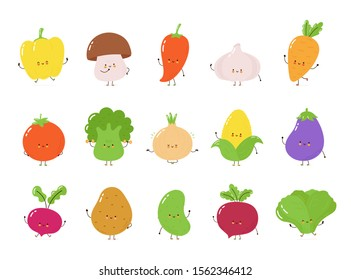 Cute happy vegetables character set collection. Isolated on white background. Vector cartoon character illustration design, simple flat style. Funny vegetables concept