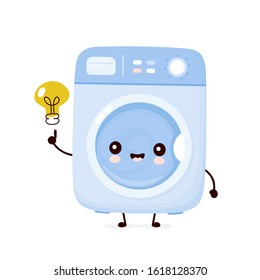 Cute happy washing machine with idea light bulb. Vector flat cartoon character illustration icon design.Isolated on white background. Washing machine character concept