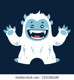Cute Happy Yeti Laughing Loudly With Both His Hands Up Vector Illustration