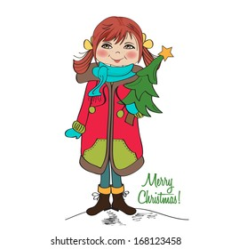 cute and happy young girl with a Christmas tree in his arms, vector illustration