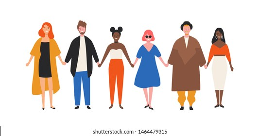 Cute happy young men and women holding hands. Funny smiling people standing in row together. Group of cheerful friends. Union, community, association. Flat cartoon colorful vector illustration.