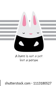 Cute hare character (a hare is not a pet but a person ) print