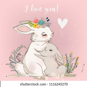 cute hare with child