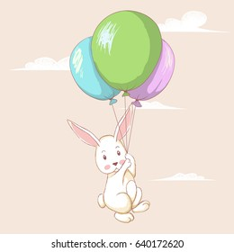 Cute hare flying with balloons.Funny rabbit.Cartoon childish vector illustration like a watercolor drawing