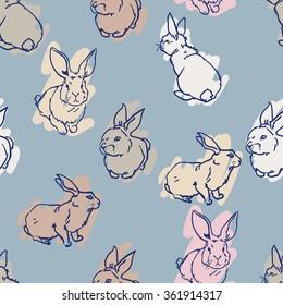 Cute hare, rabbit sketch vector illustration seamless. pattern