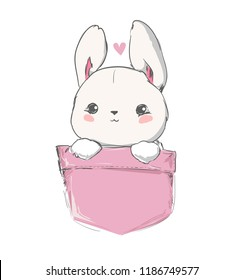 Cute hare sitting in a pocket. Hand Drawn Rabbit