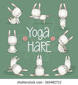 Cute hare yoga. Vector illustration.