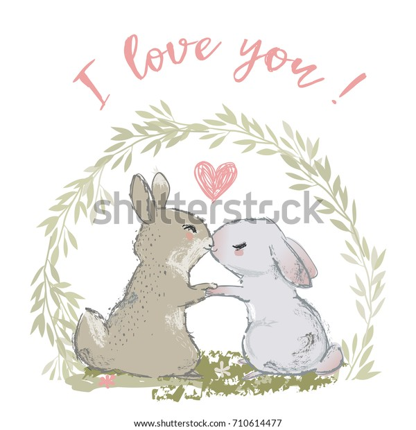 Download Cute Hares Couple Kissing Vector Illustration Stock Vector Royalty Free 710614477