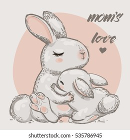 cute hares - mom and kid