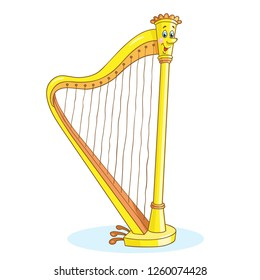 Cute harp - stringed music instrument in cartoon style, isolated on white background.
