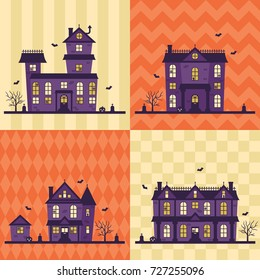 Cute haunted houses with bats, spider webs, jack O' lanterns and 4 seamless background patterns!