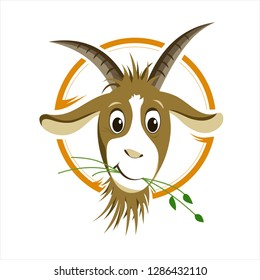 Cute head of goat - Illustration, logo, Sign. - Vector