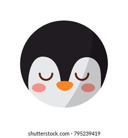 cute head penguin animal close eyes cartoon