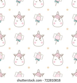 Cute head unicorn seamless pattern with lollipop and gold stars on white background.
