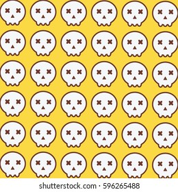 Cute Headskull Pattern In Yellow Background