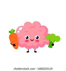 Cute healthy happy brain character with broccoli and carrot. Vector flat cartoon illustration icon design. Isolated on white background. Healthy food nutrition,human brain organ concept