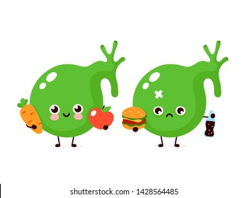 Cute healthy happy gallbladder organ with vegetables and sad with burger character. Vector flat cartoon illustration icon design. Isolated on white background. Healthy and unhealthy food concept