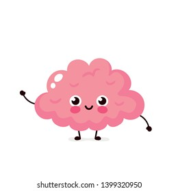 Cute healthy happy human brain organ character. Vector flat cartoon illustration icon design. Isolated on white background. Brain character concept