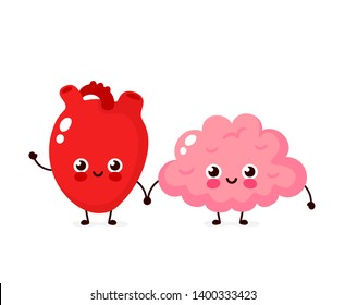 Cute healthy happy human brain and heart organ character. Vector flat cartoon illustration icon design. Isolated on white background. Brain and heart friends character concept