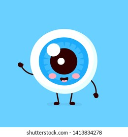 Cute healthy happy human eyeball organ character. Vector flat cartoon illustration icon design. Isolated on white background. Eye, lutein, kawaii 	 eyeball, character logo concept