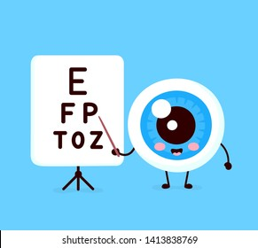 Cute healthy happy human eyeball organ points to the table for testing visual acuity character. Vector flat cartoon illustration icon design. Isolated on white background. Eye character concept