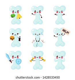 Cute healthy happy and sick sad unhealthy bone character set collection. Vector flat cartoon illustration icon design. Isolated on white background. Bones character concept