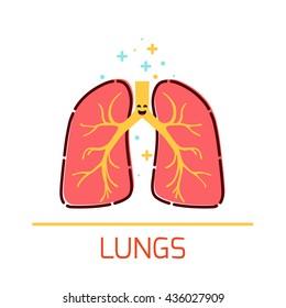 Cute healthy lungs icon made in cartoon style. Human body organs anatomy sign. Medical human internal organ symbol. Vector illustration.
