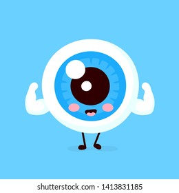 Cute healthy strong smiling happy eyeball show muscle biceps.Vector flat cartoon character illustration icon design. Isolated on white background.Healthy eye concept