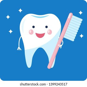 Cute healthy tooth. shiny cartoon tooth character. Childrens dentistry concept vector Illustration. Isolated on white background. happy clean tooth with brush.