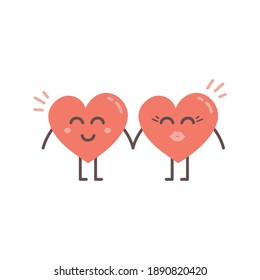 Cute heart character illustration. Happy Valentine's day