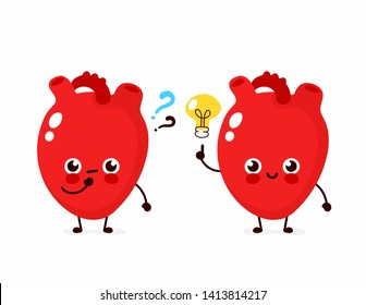 Cute heart with question mark and lightbulb character. Vector flat cartoon character illustration icon design. Isolated on white background. Heart have idea concept