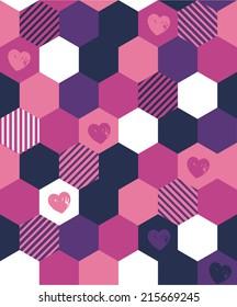 Cute Heart Seamless Repeating Hex Wallpaper