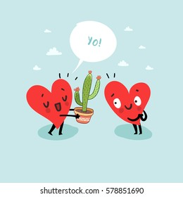 Cute hearts characters. Man giving Cactus to woman. First love date. Friendship concept.