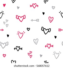 Cute hearts doodles background. Vector hand drawn seamless pattern.