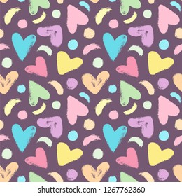 Cute hearts and dots background in pastel colors. Seamless vector pattern with hearts, dots and brush strokes on the dark background.