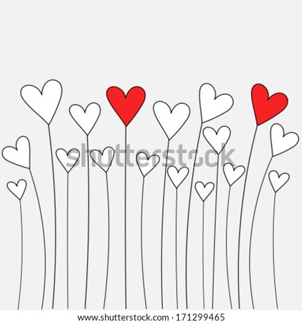 Cute Hearts Growing Valentines Day Card Stock Vector Royalty Free