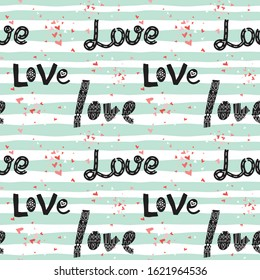 Cute hearts and hand drawn LOVE lettering seamless pattern. Pink, red small hearts silhouettes on wavy background. Vector texture design for Valentines day, Mother's day, gift wrap, textile print.