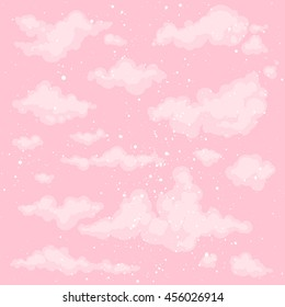 Cute heaven vector background with pink sky and fluffy clouds. Morning air, spring or summer backdrop texture