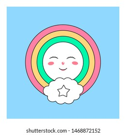 Cute heavenly character for the design of childrens wallpapers and prints clothes. Character isolated on blue background.