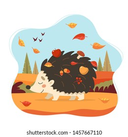 Cute hedgehog with autumn forest background. Hedgehog with apples, mushrooms and leaves. Seasonal vector illustration in flat style