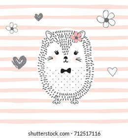 cute hedgehog cartoon vector illustration