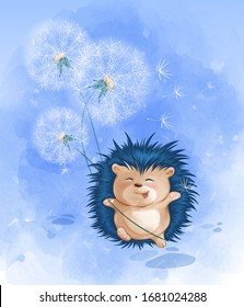 A cute hedgehog cheerfully runs and holds a bouquet of white dandelions. Vector childish cartoon character with watercolor texture.