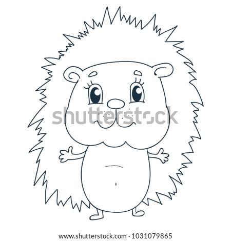 Cute Hedgehog Coloring Page Stock Vector Royalty Free 1031079865