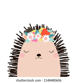 Cute hedgehog with floral wreath. Kids graphic. Vector hand drawn illustration.