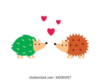 Cute Hedgehog Love Vector Cute Porcupine Stock Vector Royalty Free